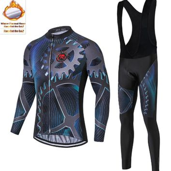 2018 New Teleyi Gear printing Cycling Jerseys Set Winter Thermal Fleece Long Sleeve Racing MTB Jersey Cycling Clothing