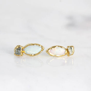 raw opal studs | rough opal earrings | raw aquamarine studs | october birthstone studs | march birthstone studs | opal stud earrings