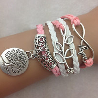 Infinity Bracelet Jewelry Pink Hope Tree Breast Cancer
