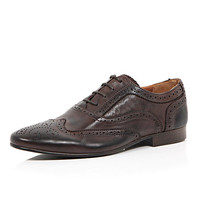River Island MensBrown leather formal Oxford brogues