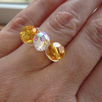 Ring Swarovski crystal yellow, custom size, thin cluster ring