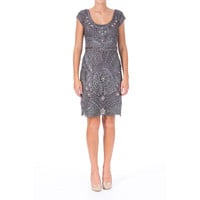 Sue Wong Womens Embellished Cap Sleeves Cocktail Dress