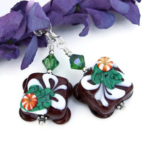 Christmas Chocolate Candy Earrings, Lampwork Petit Fours Handmade Holiday Jewelry