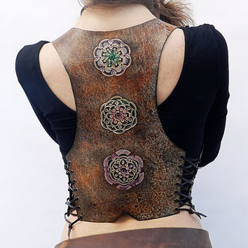 Leather vest, pixie leather vest, boho vest.