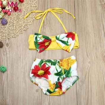 Baby Girl Floral Swimsuit Swimwear Bathing Suit Bikini Clothes Outfit 2018 New Summer Children Swimwear for 4~6 Years Old