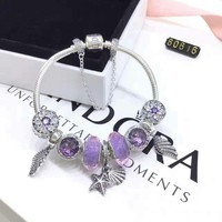 Shell Type Purple Beads Pandora 925 Sterling Silver Inspirational Bracelet