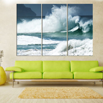 Waves canvas print, extra large wall art, Ocean waves wall art canvas, wall art print, wall decor art print, modern art, ta56