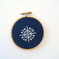 Snowflake Christmas Ornament, Navy Blue Hoop Art Ornament with Cross Stitched and Beaded Snowflake, Tree Ornament, Gift Embellishment