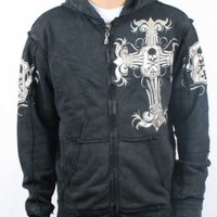 Affliction - Mens Ojeda Zip-Up Hoodie in Black