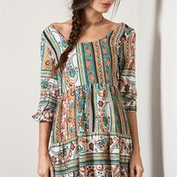 Umgee Green Mix Paisley Dress