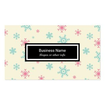 Pink And Blue Snowflake Pattern Wintery Business Card