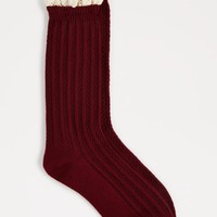 Burgundy Crochet Ruffled Boot Socks | Socks | rue21