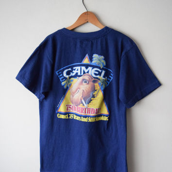 "80s Joe Camel, Camel Cigarettes 75th Birthday ""Still Smokin"" Navy T-Shirt // Screen-Print Back, Front Pocket // Soft Grunge Hipster Sz M"
