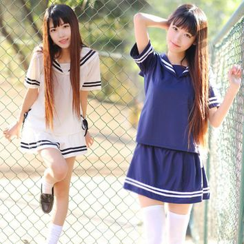 Japan school uniform for girl Korean Fashion Navy style Skirts Japanese clothes Cheerleader uniforms Harajuku Kawaii Seifuku
