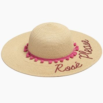 Rose Please Slogan Pom Pom Floppy Sun Hat - Sand