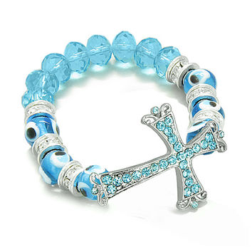 Amulet Evil Eye Protection Cross Charm Spiritual Powers Bracelet Sky Blue Glass Cute Crystals Beads