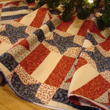 Americana Christmas Tree Skirt Country by KaysGeneralStore on Etsy