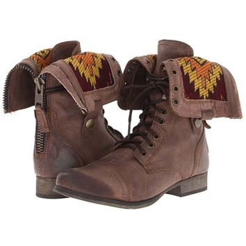 Steve Madden Chevie Lace Up Boots With Back Zipper