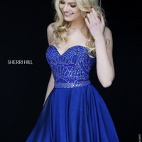 Sherri Hill 1978 Flowy Chiffon Jeweled Short Dress