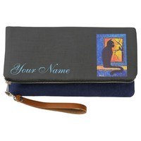 Black Cat and Owl with your name Clutch