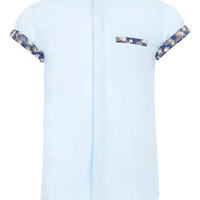 BLUE FLORAL CONTRAST SHIRT - Mens Shirts  - Clothing
