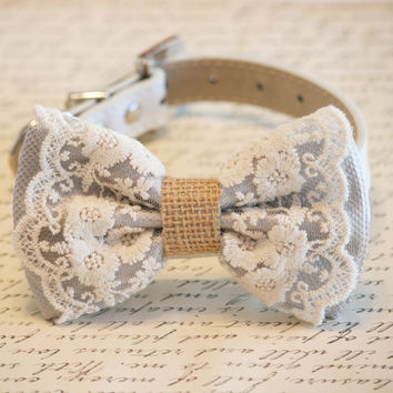 Gray Dog Bow Tie, Lace and Burlap, Rustic, Country wedding