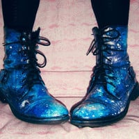 Galaxy Boots HAND PAINTED Waterproof Faux Leather Hipster Bootie