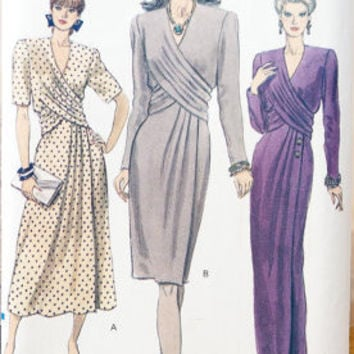 Vogue Dress Gown 90s Sewing Pattern 7939 Draped Wrapped Bust Floor or Knee Length Wide Shoulders Classic Style Uncut Plus Size XL