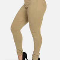 High Waisted Khaki Jeans with Flat Front