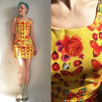 90s Clothes/ 1990's XOXO Dress Yellow Butterfly Bug Print Floral Flower Print Mini Shift Dress Size Medium