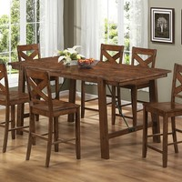 7 pc Lawson II collection rustic oak finish wood country style textured surface counter height dining table set with cable tie accents