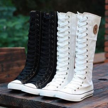 Cheering Squad Dancing Girls Womens Knee High Boots Ladies Canvas Lace Up Zip Boots Women Motorcycle Flat Tall Punk Shoes Woman