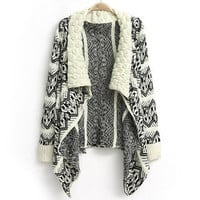 Beige Geometric Pattern Long Sleeves Coat