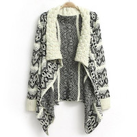 Beige Knit Flower and Geometric Pattern Long Sleeves Coat