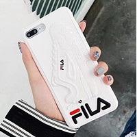 FILA New Popular Couple Personality Silicone Mobile Phone Cover Case For iphone 6 6s 6plus 6s-plus 7 7plus 8 8plus X XsMax XR White