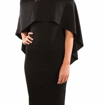 Black Luxurious Off Shoulder Batwing Cape Midi Poncho Dress
