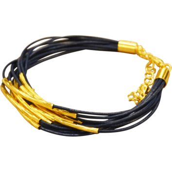 Leather Bracelet Gold Plated Trim - Blue