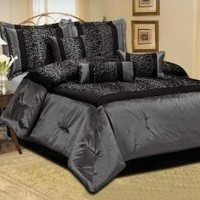 7 Piece Grey - Queen Size Faux Silk Leopard Printing Comforter Set Bedding-in-a-bag,