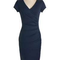 ModCloth Pinup Long Cap Sleeves Bodycon I Think I Can Dress in Navy