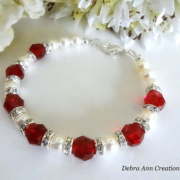 January Birthstone Bracelet Red Birthstone January Jewelry Swarovski Garnet Dark Red Crystal Bracelet Wife Gift For Her January Birthday