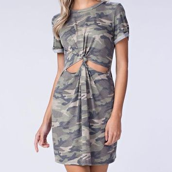 front-knot camo t-shirt dress - green