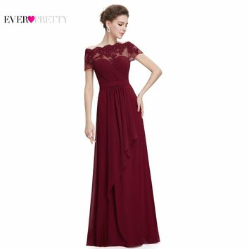 Burgundy Prom Dresses 2017 New Arrival EP08490 Women Boat Neck Royal Blue Lace Red Plus Size Long Chiffon Prom Dresses