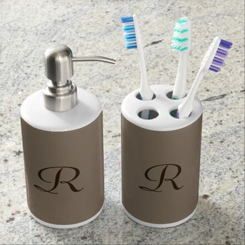 Monogrammed Tan and Brown Brush Soap Bathroom Set