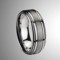 8MM Brushed & Polished Tungsten Carbide Band with Shiny Step Edge