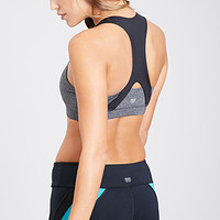 FOREVER 21 Heathered Colorblock Sports Bra Charcoal/Black