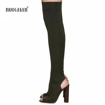 Women Shoes Over The Knee Boots Sexy Thigh High Boots 2018 Summer Ladies Fashion High Heels Boots Shoes Woman