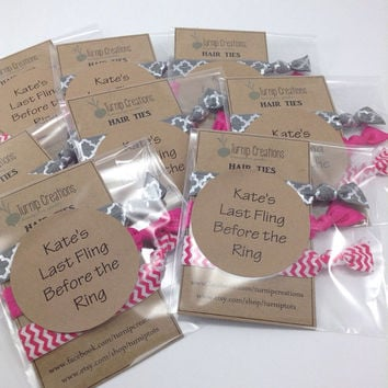 Hair Ties Custom Party Favors Hair Tie Sets Sweet 16 Favors, Wedding Shower, Bridesmaids, Baby Shower Favors, Bachelorette  Party Favors