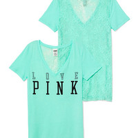 Lace-back Tee  - PINK - Victoria's Secret