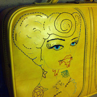 Zombie Pin Up restyled Vintage Suitcase  Hand by randomgypsy