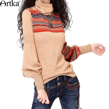 Artka Women's Spring Autumn Retro Vintage Ethnic Jacquard Turtleneck Long Lantern Sleeve Knitted Warm Sweater Y010250D